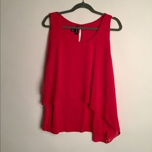 A Byers red ruffle front sleeveless blouse EUC 1X